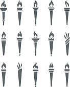 Icons torch with flame isolated vector set
