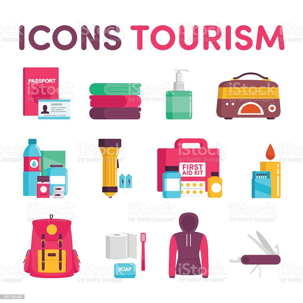 Icons tourism vector art illustration