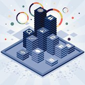 Some isometric towers with an icon on the top: world, lock, photo, magnifier, search, chain, link, network, speech bubble, mail, envelope, email, movie, document, file. Abstract and blue.
