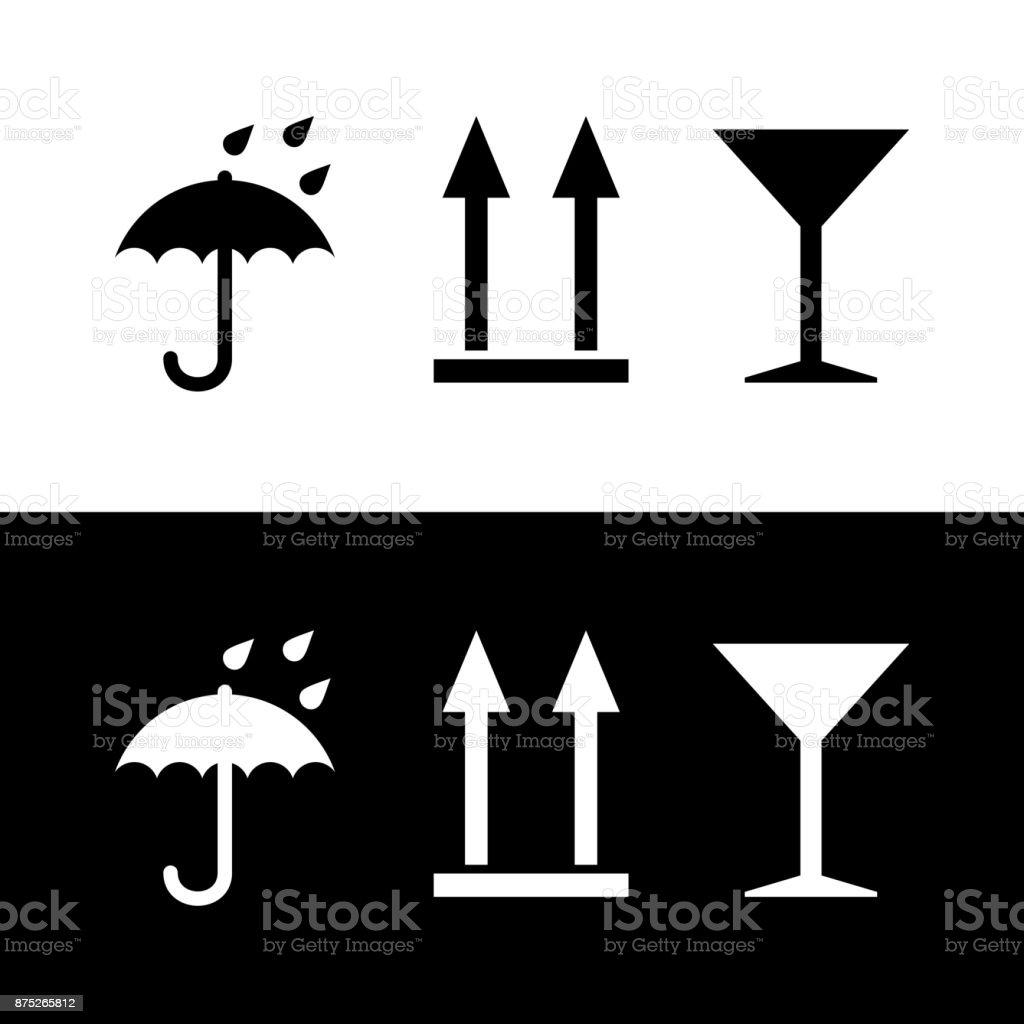 Icons umbrella, martini glass, up arrow vector art illustration