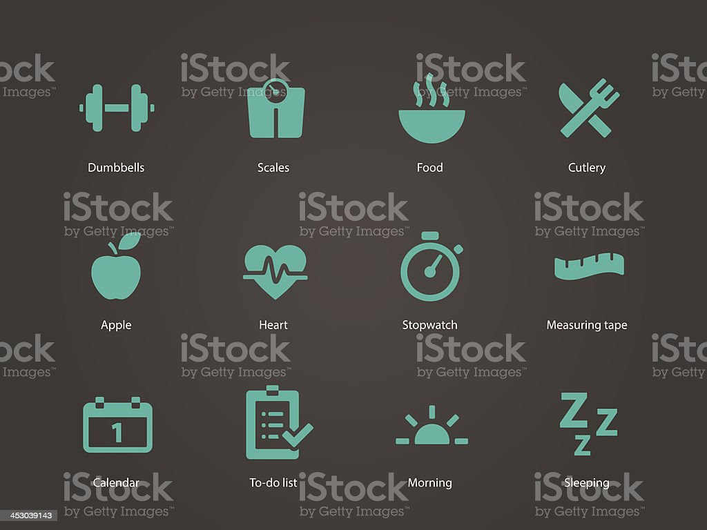 Icons used to symbolize fitness vector art illustration
