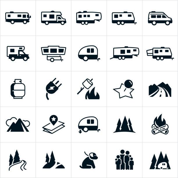 stockillustraties, clipart, cartoons en iconen met rv iconen - caravan