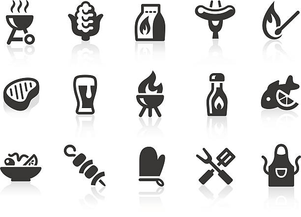 BBQ icons Monochromatic barbecue related vector icons for your design and application. Raw style. Files included: vector EPS, JPG, PNG. cooking clipart stock illustrations