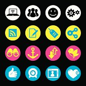 Web/Internet icons in 4 primary printing colors: Cyan, Magenta, Yellow, and Black.