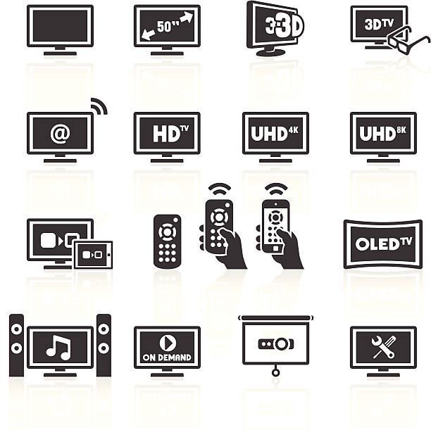TV Icons TV Equipment Icons. Layered & grouped for ease of use. Download includes EPS 8, EPS 10 and high resolution JPEG & PNG files. watching tv stock illustrations
