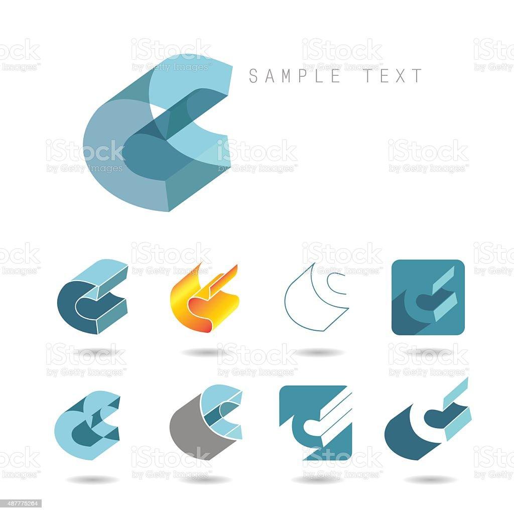 C icons vector art illustration