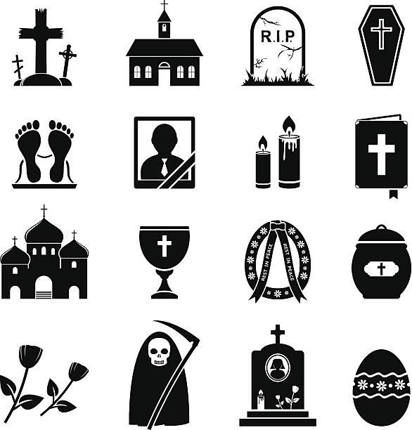 stockillustraties, clipart, cartoons en iconen met rip icons - funeral crying