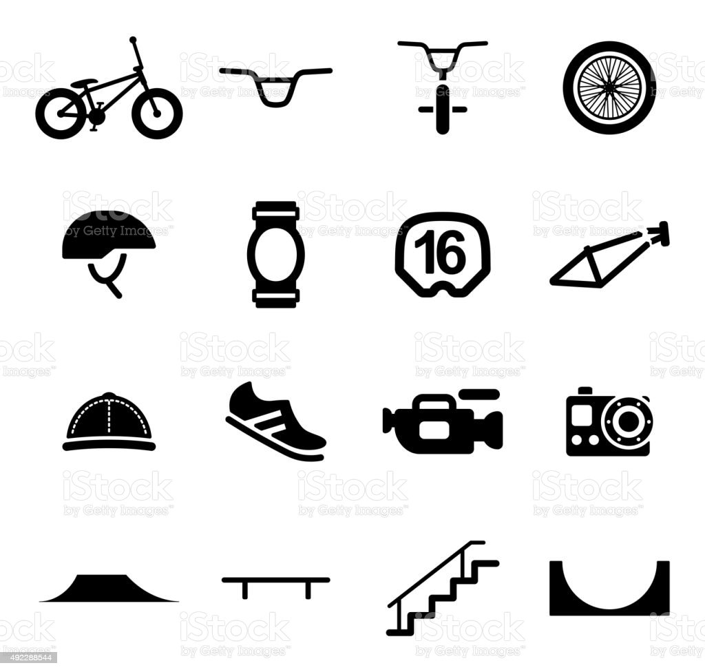BMX Icons vector art illustration