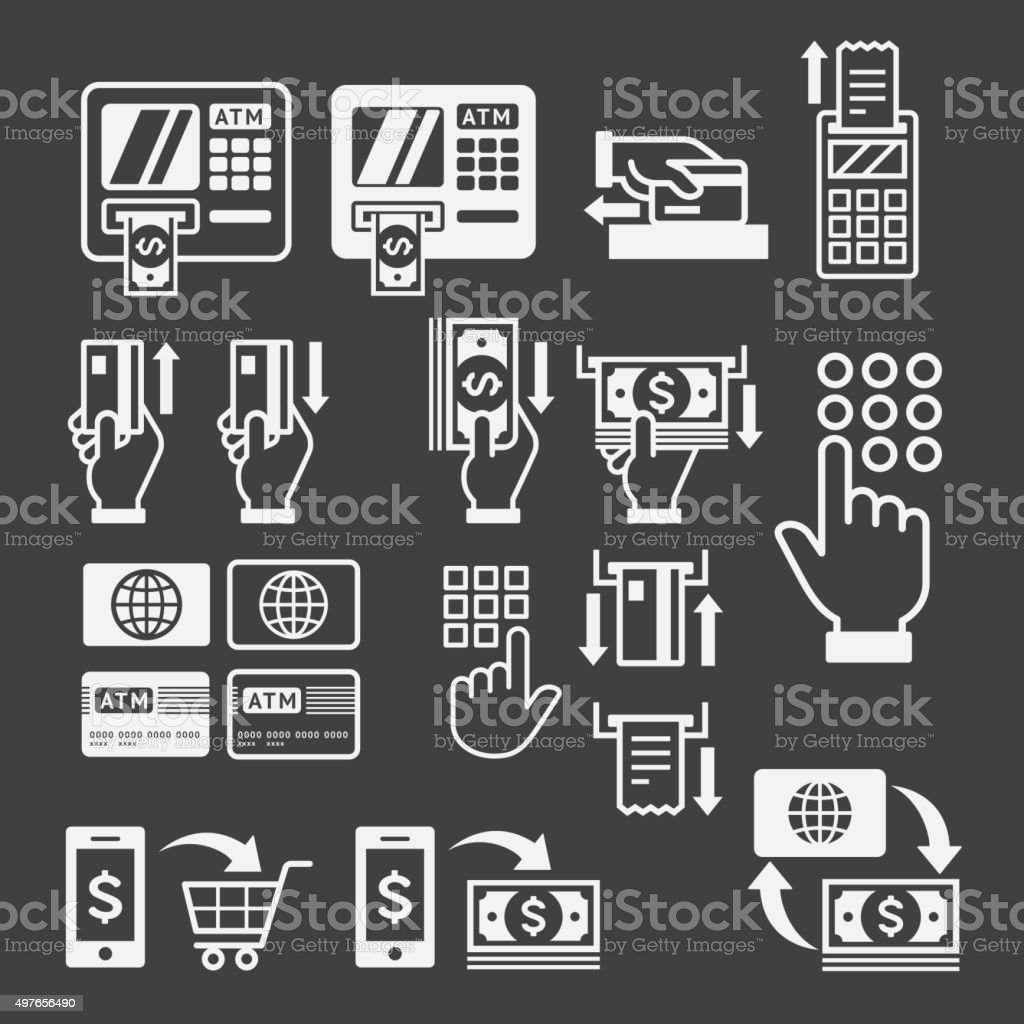 ATM icons. vector art illustration