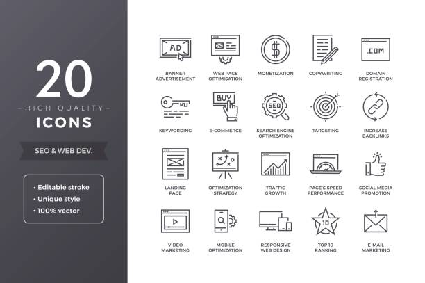 seo icons - seo stock illustrations, clip art, cartoons, & icons