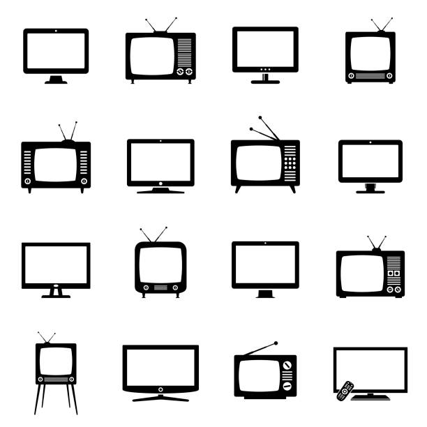 TV icons Modern and Retro TV icons. Vector illustration. television set stock illustrations