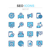SEO icons. Vector line icons set. Premium quality. Simple thin line design. Modern outline symbols collection, pictograms.