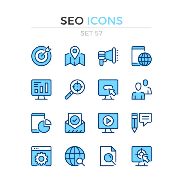 SEO icons. Vector line icons set. Premium quality. Simple thin line design. Modern outline symbols collection, pictograms. SEO icons. Vector line icons set. Premium quality. Simple thin line design. Modern outline symbols collection, pictograms. seo stock illustrations