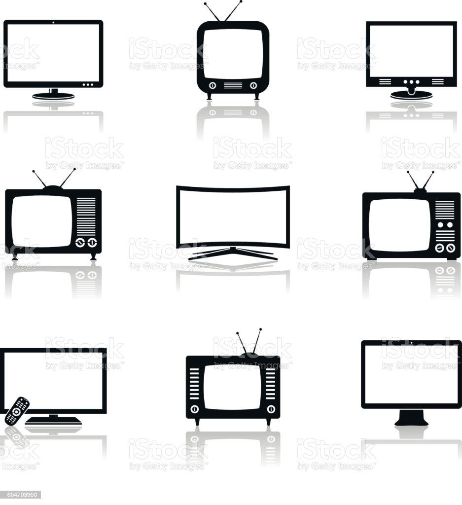 TV icons vector set vector art illustration