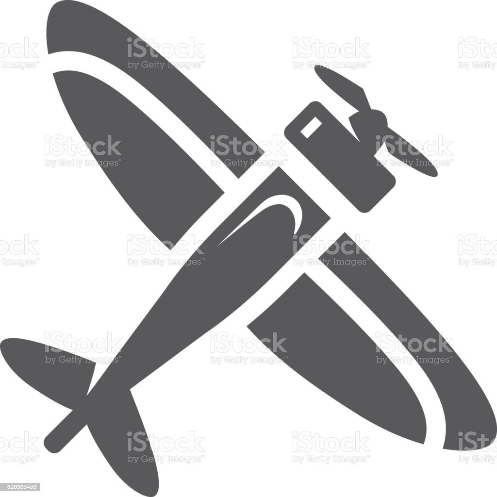 BW Icons - Vintage airplane vector art illustration