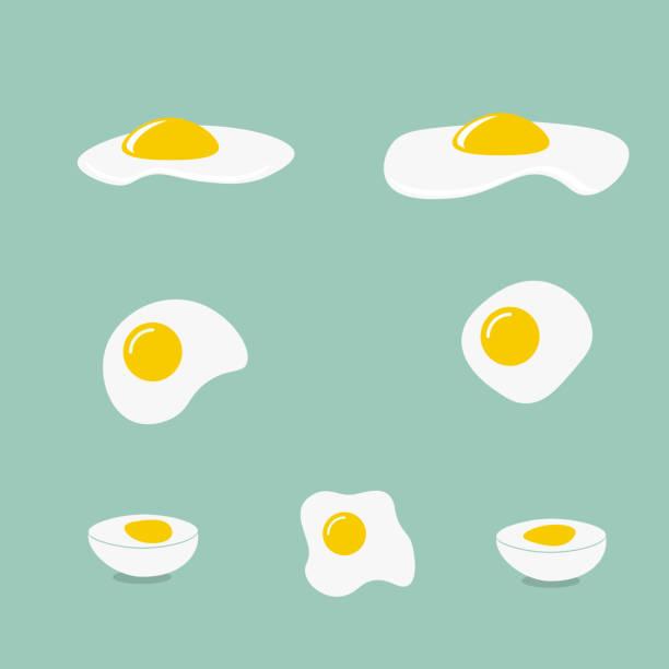 icons with a fried egg - spiegelei stock-grafiken, -clipart, -cartoons und -symbole