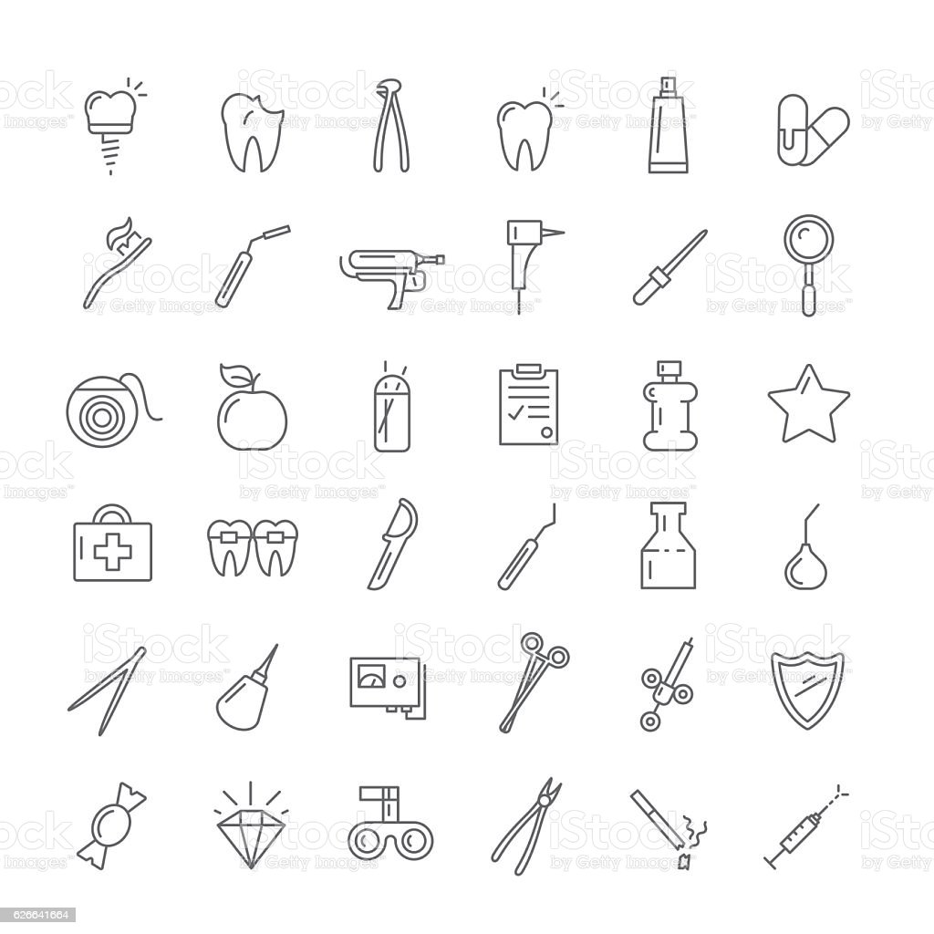 Icons with instruments for dentists vector art illustration