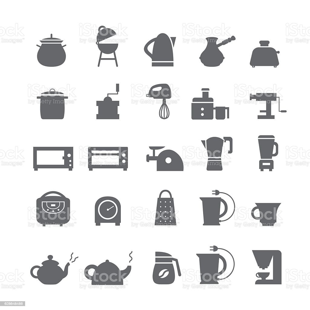 Icons with kitchen appliances vector art illustration