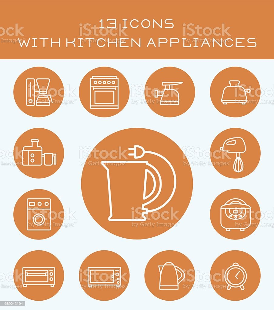 13 icons with kitchen appliances. vector art illustration