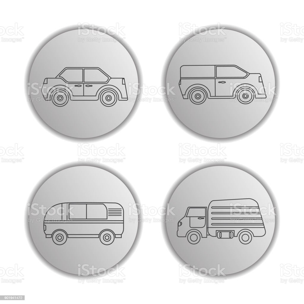 Icons with vehicles the sedan, the truck, pass the van, the SUV car. A design concept for the websites and mobile applications. vector art illustration