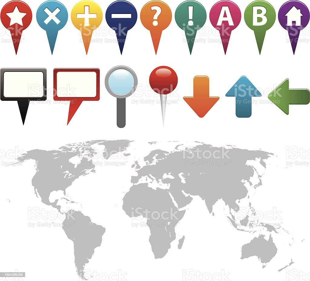GPS icons with world map royalty-free stock vector art