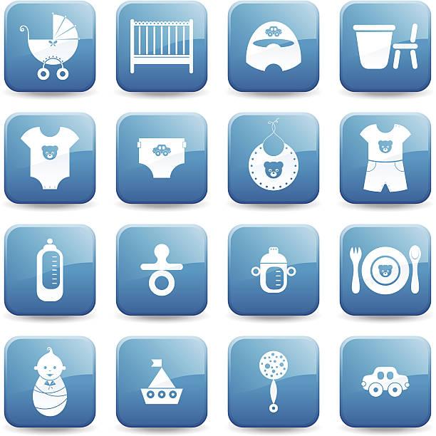 icon-set-baby-jungen-serie - wickeltisch stock-grafiken, -clipart, -cartoons und -symbole