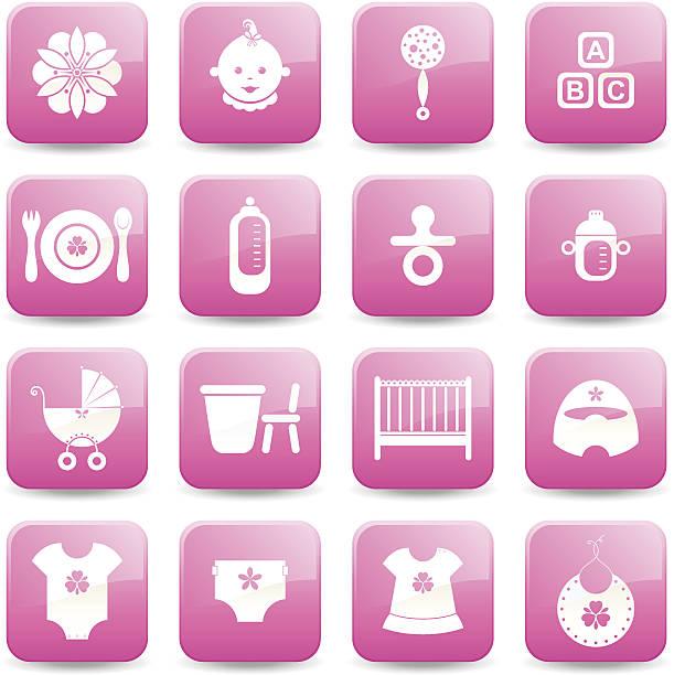 icon-set-baby-mädchen-serie - wickeltisch stock-grafiken, -clipart, -cartoons und -symbole