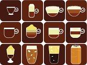 Icons/Logo : Hot Beverages (Coffee, Tea, Chocolate) Set#1