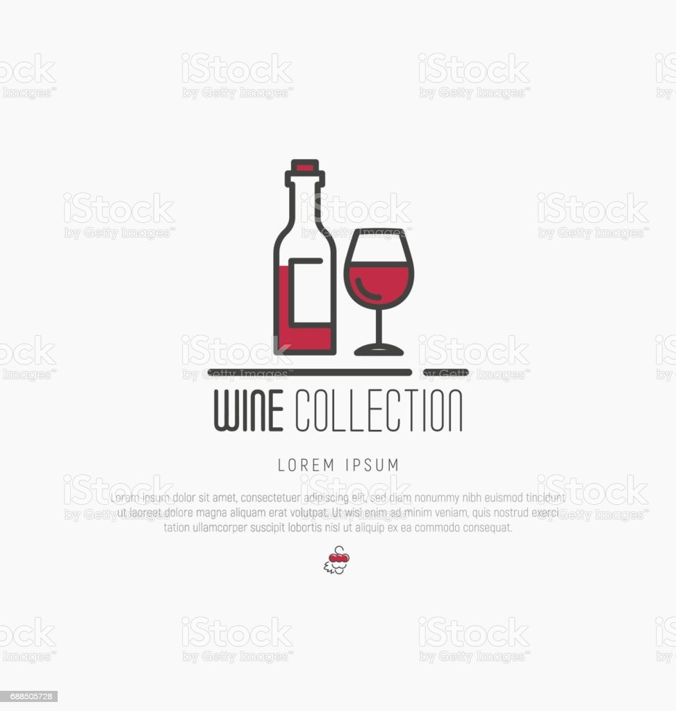 icontype of wine and wine making. Modern thin line icons, flat style design. vector art illustration