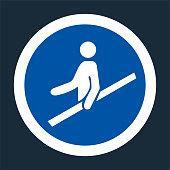 PPE Icon.Use Handrail Symbol Sign On black Background,Vector llustration