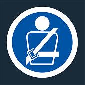 PPE Icon.Wearing a seat belt Symbol Sign On black Background,Vector llustration