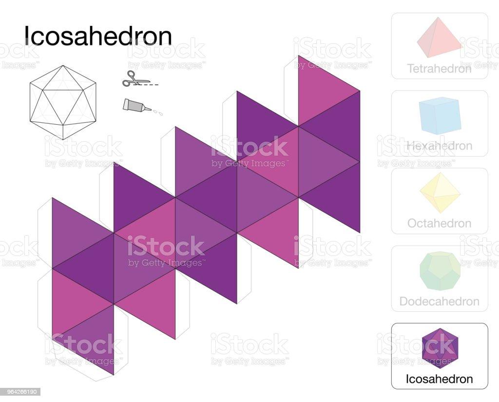 Ilustración de Plantilla Sólida Platónica Icosaedro Modelo De Papel ...