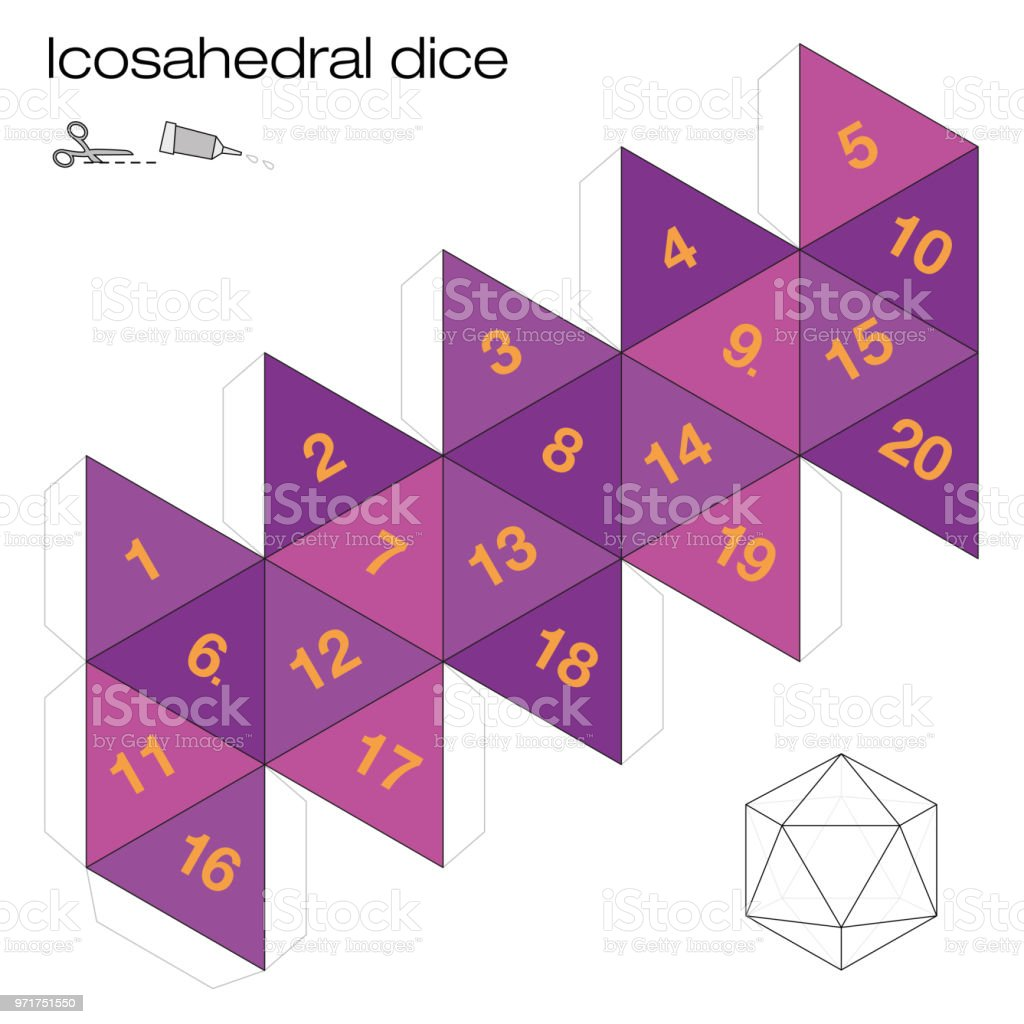 Icosahedron Template Icosahedral Dice One Of The Five Platonic