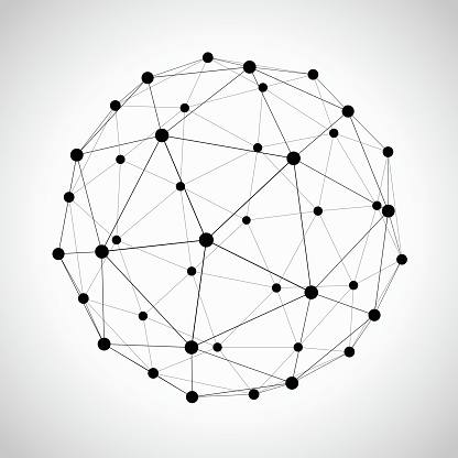 Scalable vector of an Icosahedron. A versatile design element that could visually represent a connected network, global links or be used as a bold geometric feature in your scientific or mathematical design project.