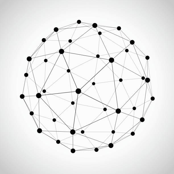 icosahedron - sieć komputerowa stock illustrations