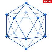 Icosahedron with molecular style.