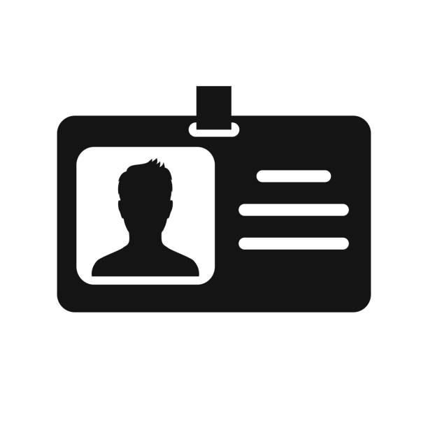 ilustrações de stock, clip art, desenhos animados e ícones de id badge icon. identification card with lanyard – vector for stock - tape face