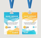 Id Card Template Plastic Badge Vertical Set with Abstract Geometric Bubble Speech. Vector illustration