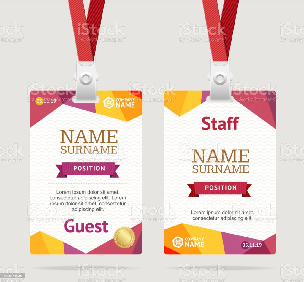 id card template plastic badge vector stock vector art more images