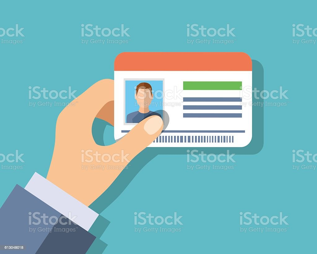 Id cards in hand vector art illustration
