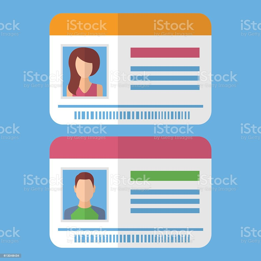 Id cards template with man and woman photo - ilustración de arte vectorial