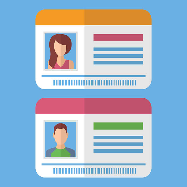 ilustraciones, imágenes clip art, dibujos animados e iconos de stock de id cards template with man and woman photo - carne