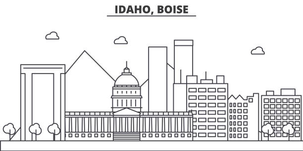 Idaho, Boise architecture line skyline illustration. Linear vector cityscape with famous landmarks, city sights, design icons. Landscape wtih editable strokes vector art illustration