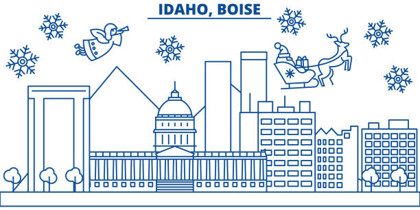 USA, Idaho , Boise winter city skyline. Merry Christmas and Happy New Year decorated banner. Winter greeting card with snow and Santa Claus. Flat, line vector. Linear christmas illustration vector art illustration