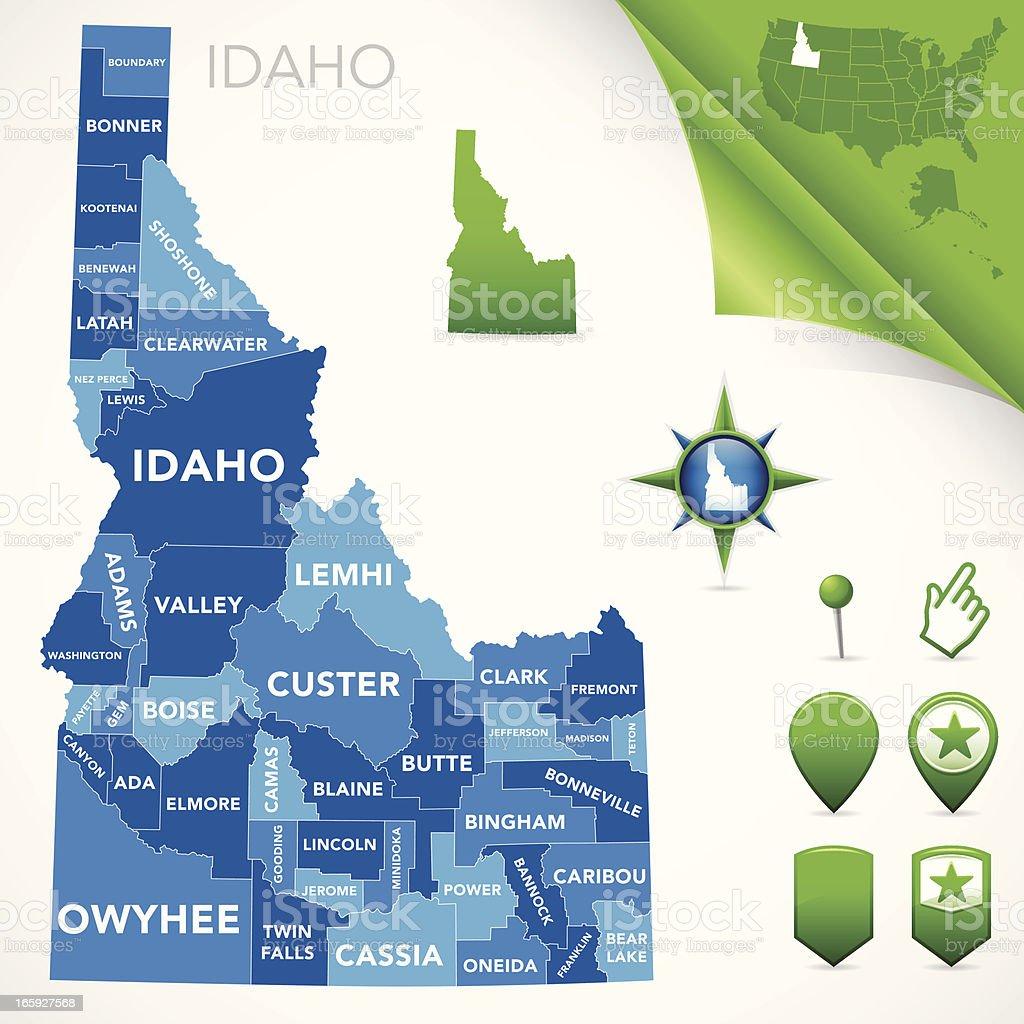 Idaho County Map vector art illustration