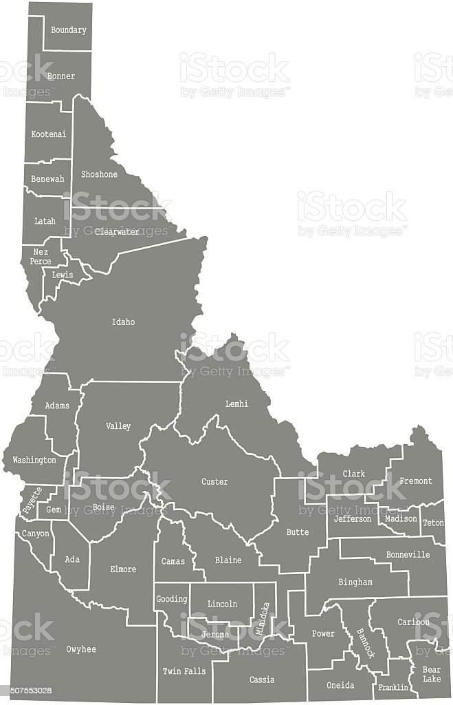 Idaho county map vector outline vector art illustration