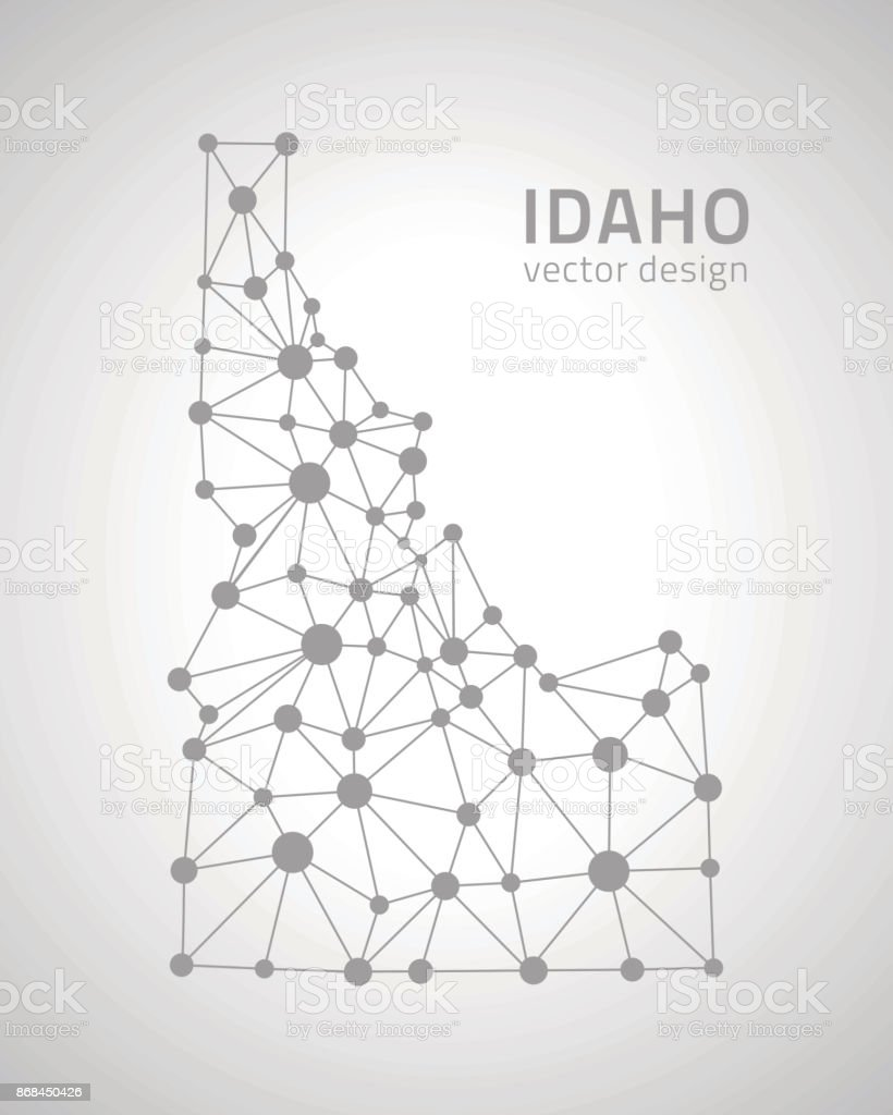 Idaho dot grey outline triangle vector perspective modern map vector art illustration