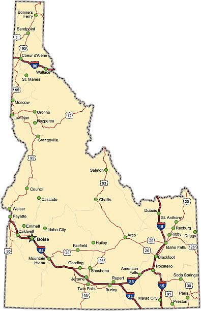 Idaho Highway Map vector art illustration