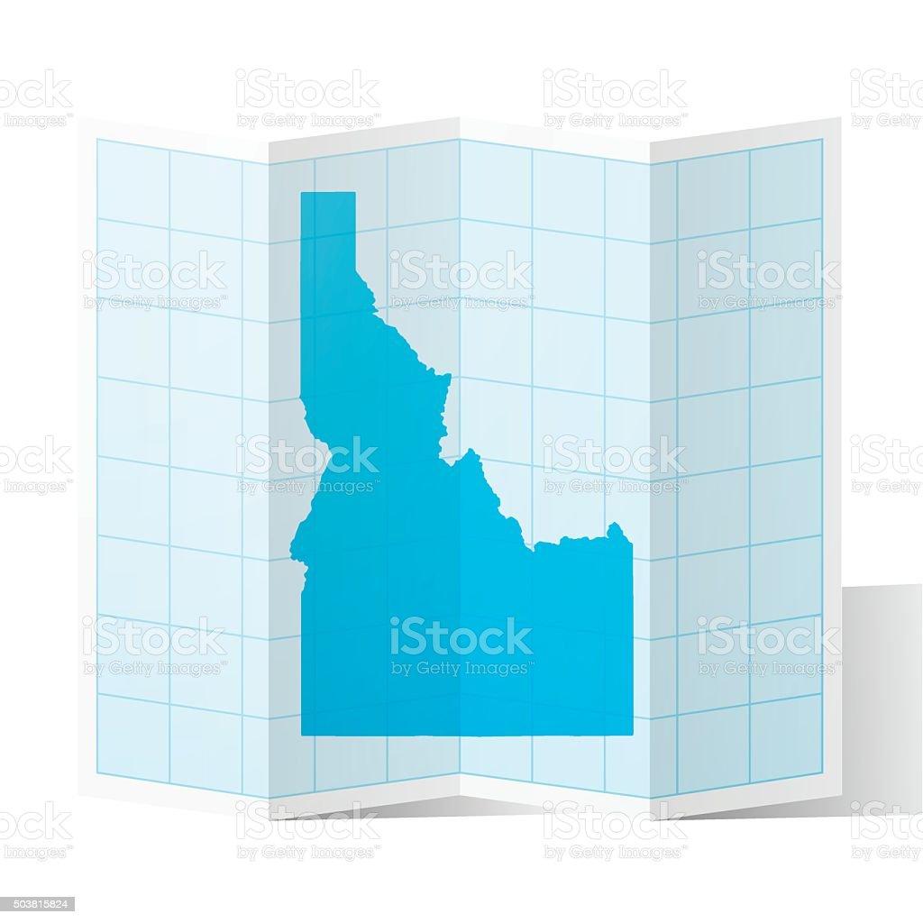 Idaho Map folded, isolated on white Background vector art illustration