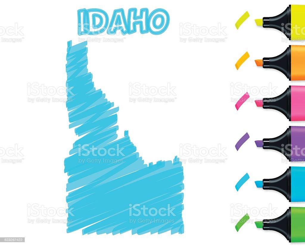 Idaho map hand drawn on white background, blue highlighter vector art illustration